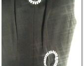 Vintage Christmas Gift! 1960's 1970's Black Formal Jumper jump suit  Coolots keyhole