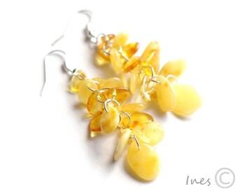 Baltic Amber Dangle Earrings, Leaves Amber Earrings