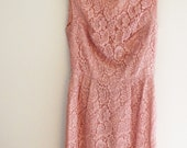 SALE Vintage PINK LACE Wiggle Dress Cocktail Cathy Gray Small 60s Classic Shift