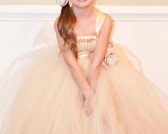 Flower Girl Tutu Dress Empire Waist Babydoll Style with Satin Sash Champagne and Satin Flower Hair Clip CUSTOMIZABLE