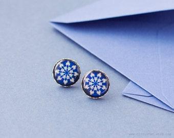 Navy blue tribal snowflake earrings, dark blue earrings, ear post, ear studs, navy blue, stud earings, post earring, winter jewelry