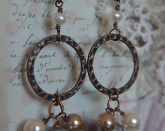 Copper and pearl dangle earrings