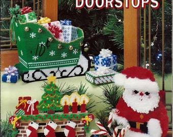 Christmas Doorstops Plastic Canvas Pattern Book American school of Needlework 3063