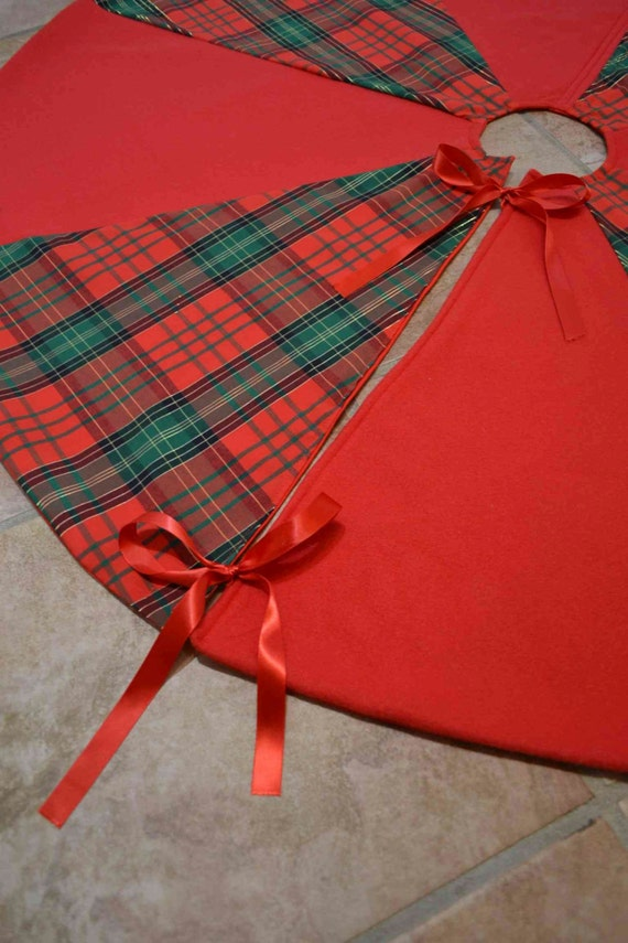 Large tartan and red fleece christmas tree skirt reversible