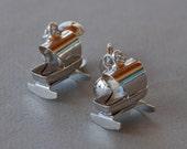 Vintage CORO Cradle Earrings Screwback Silver Tone Baby New Mom RARE 1950's // Vintage Designer Costume Jewelry