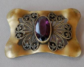 Antique Edwardian Purple Stone Brass Brooch Amethyst Glass Filigree Sash Pin Statement Piece Downton Abbey 1910's // Vintage Jewelry