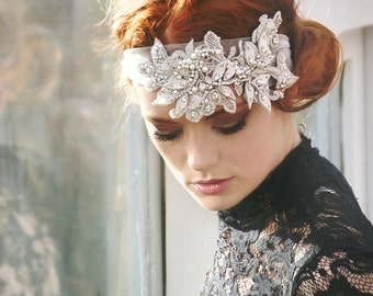 My Beautiful Michelle headband  - Romantic hair piece with rhinestones, tulle and lace