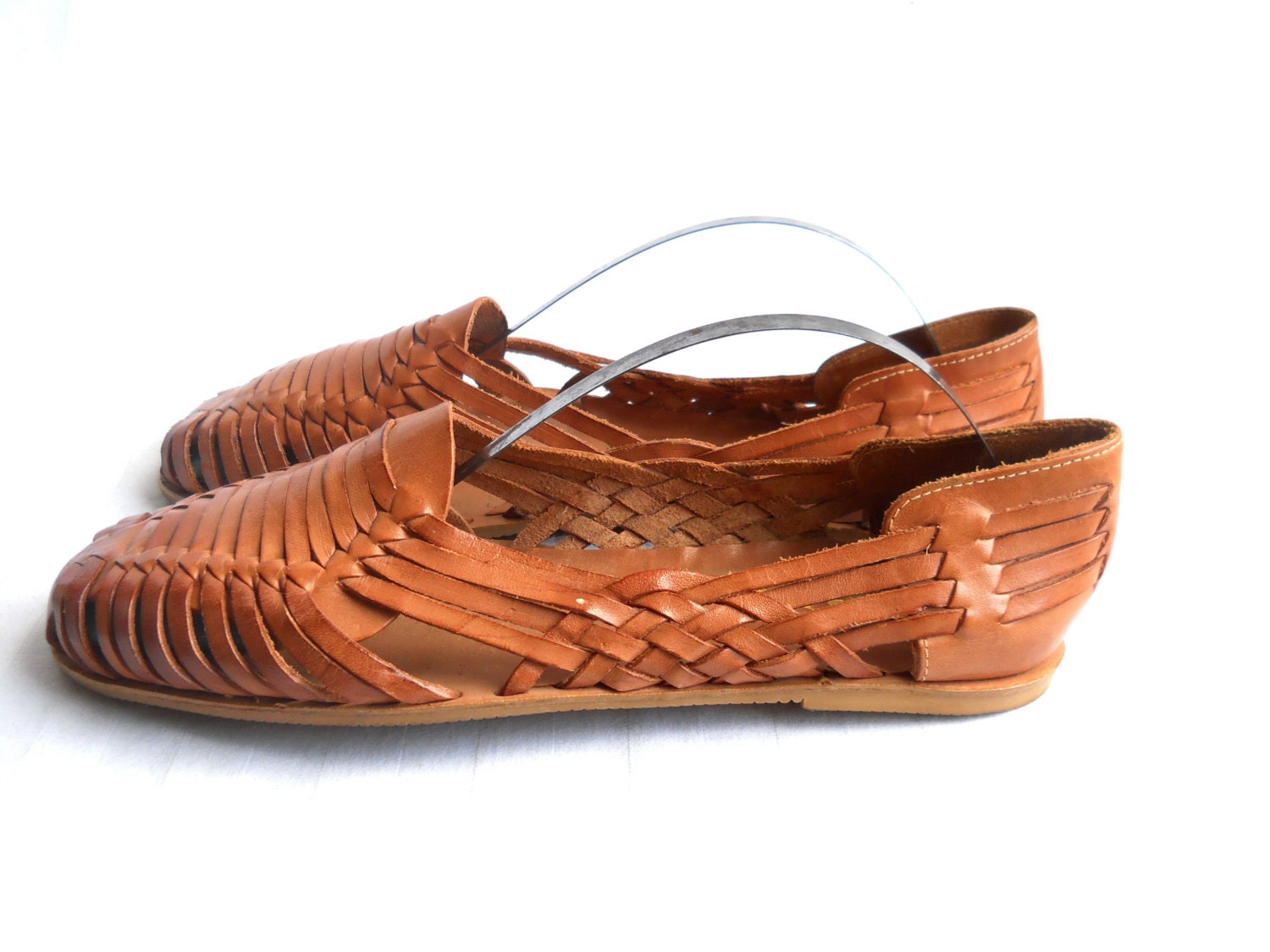 Boho Chic Shoes Woven Leather Sandal Woven Leather Flats Brown