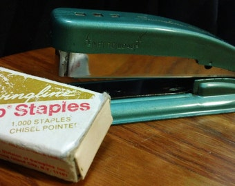 "Vintage 50s Teal Swingline Cub 5.5"" Metal Stapler w/ box of staples - Works Great"