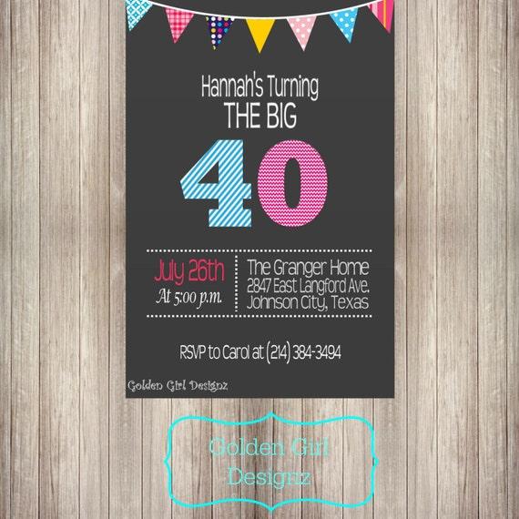 DIY Printable Invitation Bunting Banner 40th Birthday