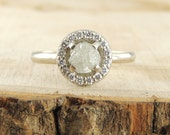 Uncut Diamond Halo Engagement Ring, 14k White Gold
