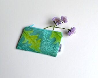 Teal Coin Purse, Hand Printed, Zipper Pouch, Leaf Coin Purse, Green Purse