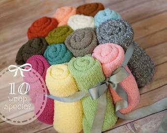 Sale, 10 stretch knit wrap, newborn stretch wrap, colored stretchy wraps, baby prop wrap, flash sale, wrap sale, photography wrap sale