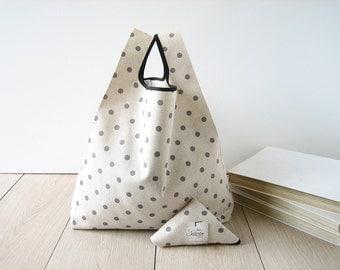 polka dots shopping bag / minimal tote / beige cotton shopper / gray polka dot bag / triangle folded bag / edge in black ribbon / 1 piece