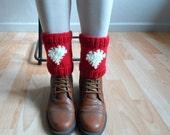 Knit Boot Cuffs, Heart Legwarmers, Red Boot Cuffs, Heart Knit Cuffs, Red Boot Toppers, Love Heart Red Knee Socks,Christmas Gift