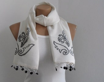 Women Scarf, Cotton Scarf, Cream Scarf Cowl, Hand Stamped Scarf, Natural Neutral