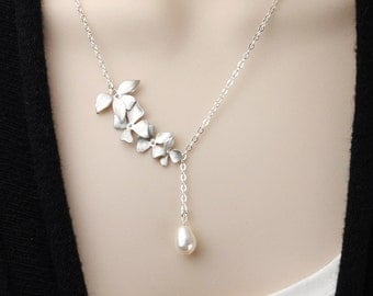 White Pearl Necklace - Silver Flower Bridesmaid Necklace - Swarovski Pearl Drop Necklace - Pearl Bridesmaid Jewelry - Wedding Jewelry