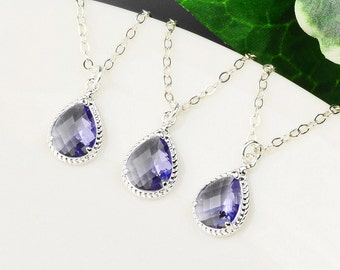 Purple Necklace Set of 7 - 15% OFF Silver Purple Bridesmaid Necklaces - Tanzanite Necklace - Silver Bridal Jewelry - Wedding Jewelry