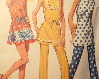 Tu-Cute Tu-nic with pants or shorts pattern McCalls 2417 1970s