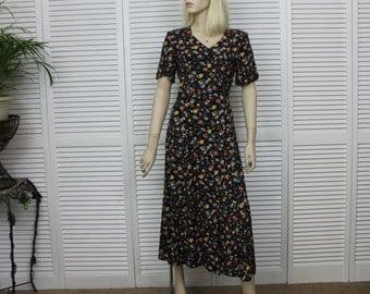 Vintage Long Black Floral Dress Size 6 P Casual Corner