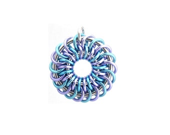 Chain Maille Pendant, Pastel Jewelry, Spiral Pendant, Multicolor Jewelry, Jump Ring Jewelry, Round Pendant