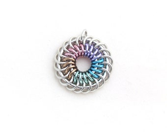 Pastel Pendant, Multicolor Chain Maille Jewelry, Rainbow Spiral Aluminum Chain Mail Pendant