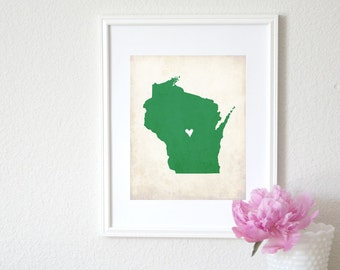 Wisconsin Rustic State Map. Personalized Wisconsin Map. Wedding Map. Wedding Gift. Housewarming Gift. Family Map. Art Print 8x10.