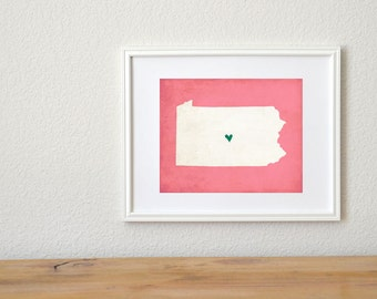 Pennsylvania State Art Silhouette Map Personalized Print