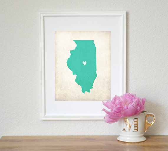 Illinois Rustic State Map. Personalized Illinois Map. Illinois Wedding Map. Wedding Gift. Engagement Gift. Art Print 8x10.
