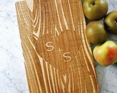 Customized wooden Cutting Board. Carved initials on tree, personalized with anniversary date. Engagement gift. Solid maple. approx 16 x 9