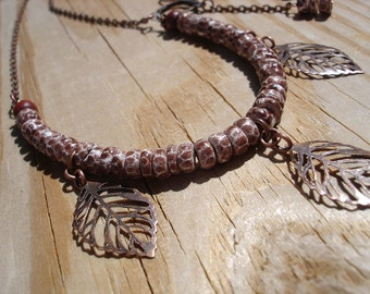 CLEARANCE, Cocoa Shell Copper Leaf Necklace and Earrings Set, Jewelry Set, Antiqued Copper Jewelry, Leaves,Bib Necklace,Rustic Jewelry, SALE