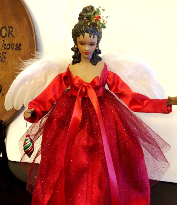 African american christmas angel tree topper ooak handcrafted for American christmas decoration