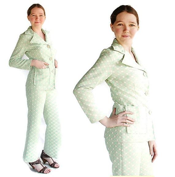 70s Mod Suit / Pant Suit / Geometric / Green / Village Park / Bell Bottom Pants