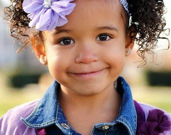 Light Purple Chiffon with Black & White Damask Headband - Baby - Newborn -Toddler  - Metal Rhinestone Lavender