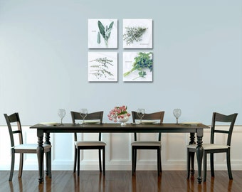 Food Photography - Kitchen Art - Herbs - Set of Four (4) Herb Photographs - Gallery Wrapped Canvas - Kitchen/Dining Room Decor