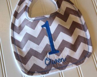 Chevron Birthday Bib With Name, First Birthday Bib, Chevron Stripe Bib, Minky Bib, Custom Bib