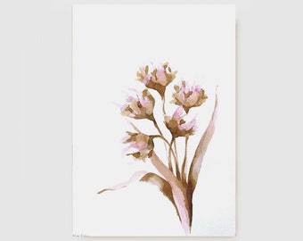 FLOWERS - Original Art Ink drawing- Ink wash, brown, pink, beige, watercolor, acid free paper Sennelier 200gr by Cristina Ripper