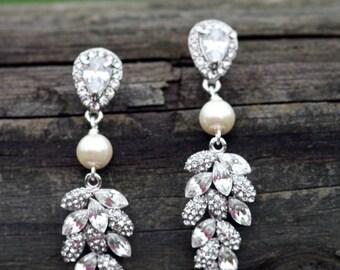 Fresh Leaves Swarovski Drop Dangle Crystal Bridal Earrings Posts, French Hooks, Cubic Zirconia