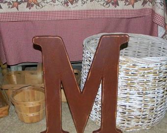 Large Wood Letter M Distressed 18 Inch Wood Letters Choose Letter & Color