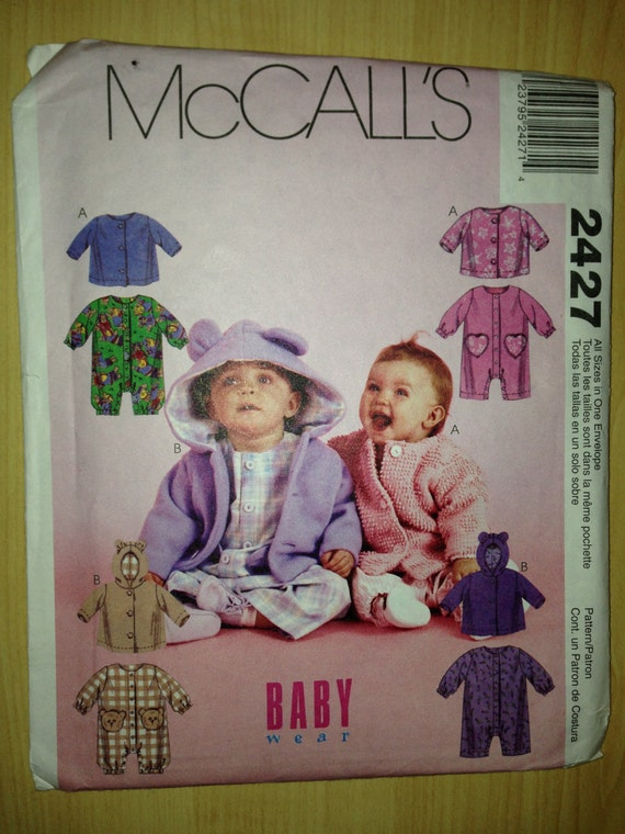 McCalls 90s Sewing Pattern 2427 Infants Jumpsuit and Jacket All Sizes
