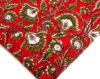 Indian Cotton Fabric - Block Print Cotton Fabric - Indian Cotton Fabric in Coral and Olive Green