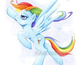 My Little Pony Art Rainbowdash Print MLP Painting Rainbow Dash FIM Children's Art - Nursery - Sarah Alden