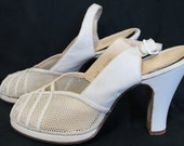 Amazing 1940s White Leather & Mesh Strappy Slingback PeepToe Heels Size 6.5