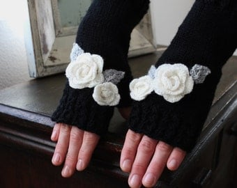 Knit Fingerless Gloves/Arm Warmers, with Rose Appliqué in Black