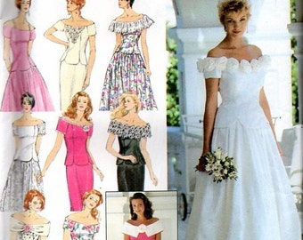Simplicity 90s Sewing Pattern Wedding Dress Bridesmaid Bridal Gown Off Shoulder Full Skirt Fitted Bodice Shawl Collar Plus Size Bust 36
