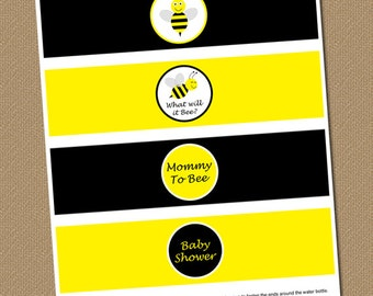 Bumble Bee Water Bottle Labels - DIY Printable Baby Shower Water Wrappers - Yellow Black - INSTANT DOWNLOAD