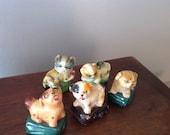 Vintage clay figural cat or dog pencil sharpener