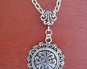 Pewter Button Necklace from Norway Tele with Vintage Bail