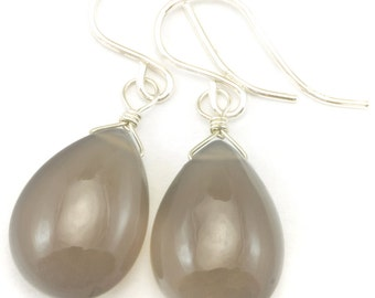 Grey Chalcedony Earrings AAA Smooth Gray Briolette Drops 14k Gold Filled or Sterling Silver Pear Shape Simple Daily Classic Drops Neutral