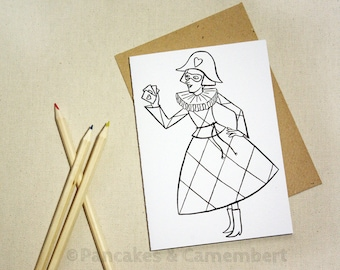 Coloring card - Harlequine
